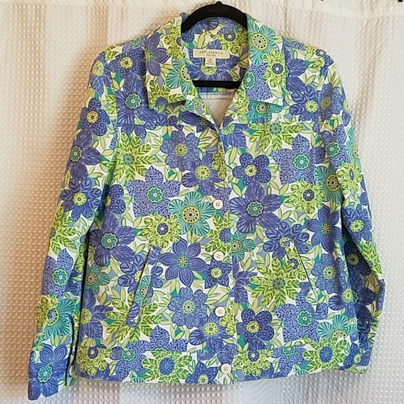 Appleseed's Jackets & Blazers - Appleseed's purple and green floral jacket